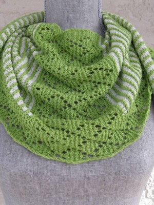 stripes and lace free scarf knitting pattern