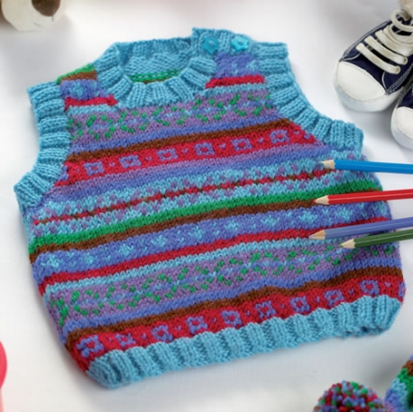 Fair Isle Tank Top and Hat - Free Knitting Pattern for Baby and Todlers
