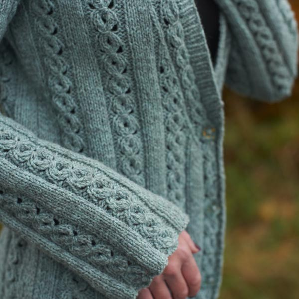 Margot Long Cable Jacket knitting pattern 1
