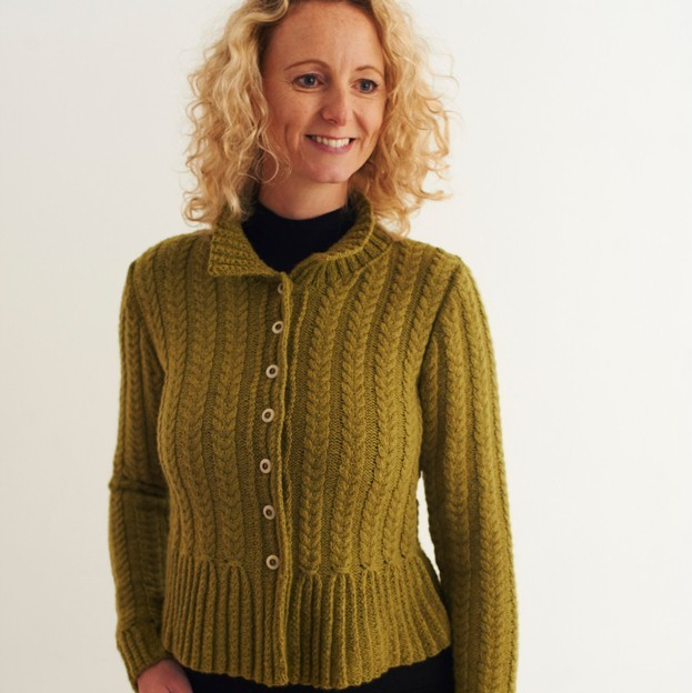cable knitted peplum cardigan free knitting pattern front