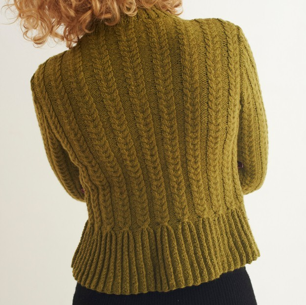 cable knitted peplum cardigan free knitting pattern