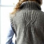 Sleeveless long cardy with handwarmer pockets pattern