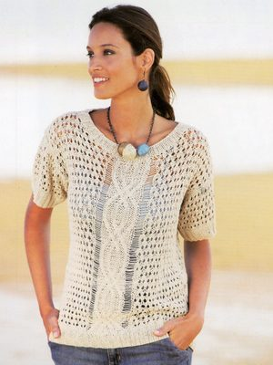 35e886f6af8c58 Cable Motif Summer Top Free Knitting Pattern ⋆ Knitting Bee