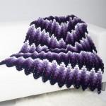 Aubergine Ripple Throw Crochet Blanket Pattern
