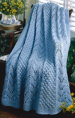 Fan Knit Afghan Knitting Bee