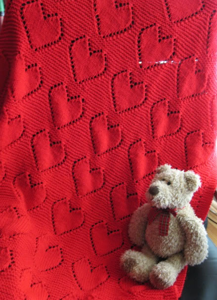 Knitting Patterns Baby Blanket With Hearts images
