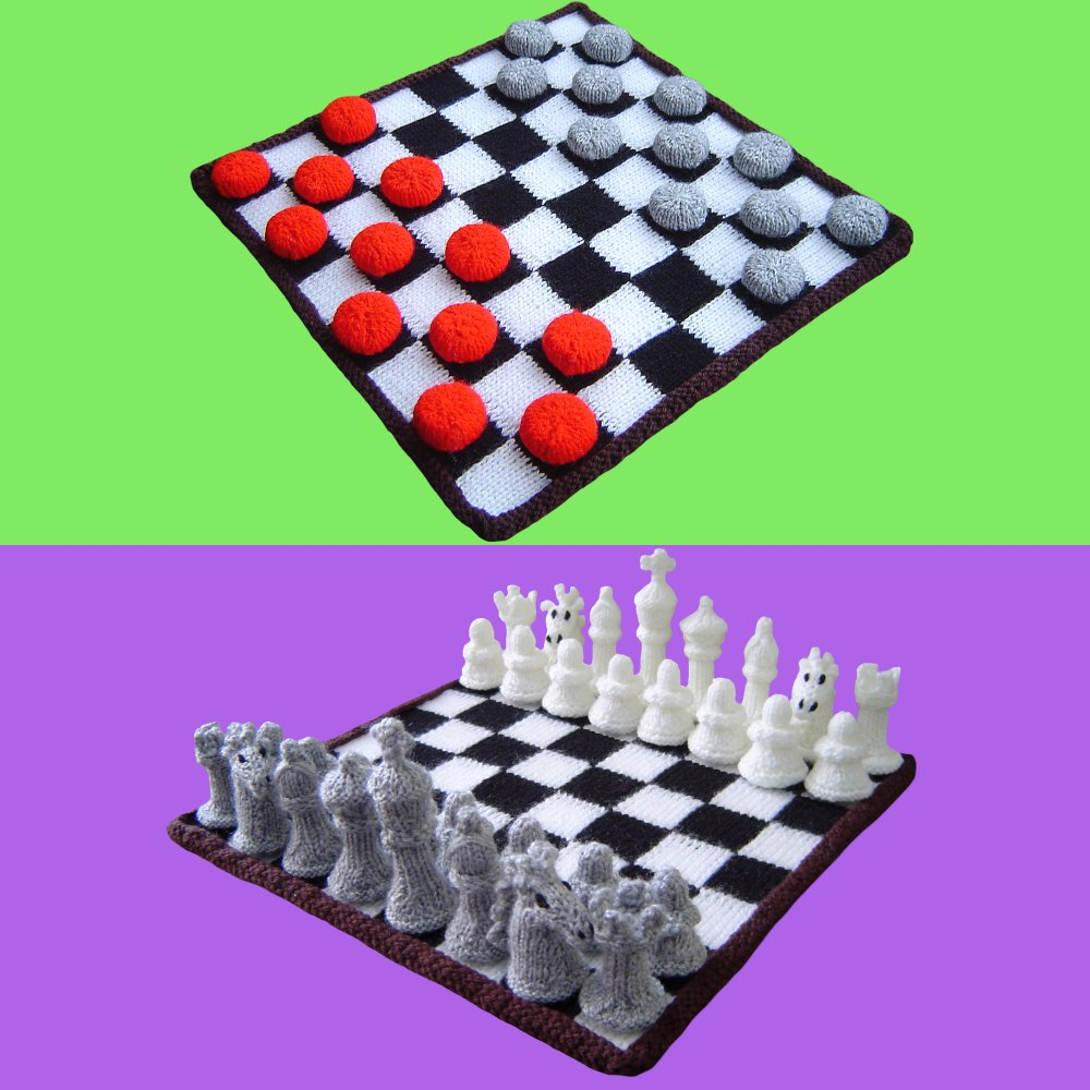 Knitted Chess & Checker Board