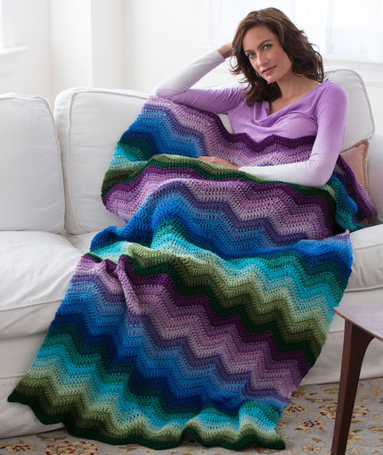 Radiating Ripple Throw - Free Crochet Blanket Pattern