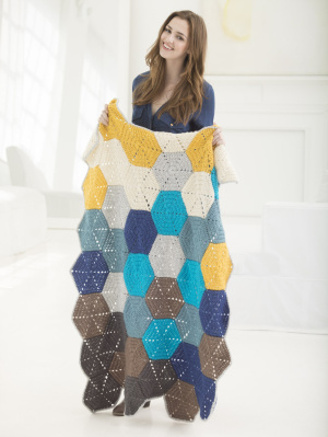 Shoreline Afghan - Hexagonal Motif Blanket Pattern