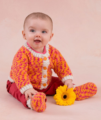 Happy Girl Cardigan and Booties - Free Crochet Pattern