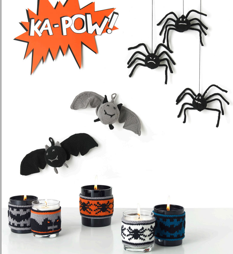 Free-Knitting-Patterns-for-Bats,-Spiders-and-Candle-Holders