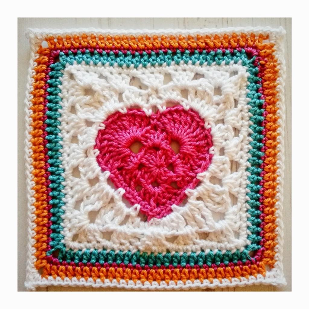 Granny Heart Square - Crochet Square Pattern