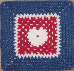 Peace, Love and Understanding crochet square