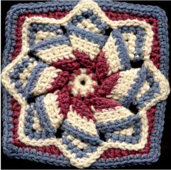 Pinwheel Star - Free Crochet Square