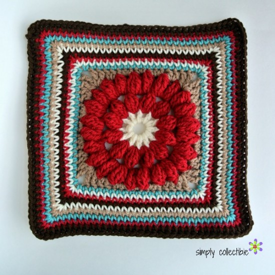 Whimsical Penelope's Merry-Go-Round beautiful 12″ granny square - Free Crochet