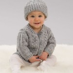 Aran Stitch Cardigan & Hat - Free Crochet Pattern