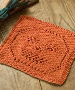Lacy Jack-O-Lantern Dishcloth - Free Halloween Knitting Pattern