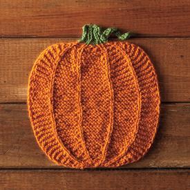 Pumpking Dishcloth - Free Halloween Knitting Pattern.