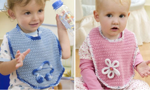Two Cute Crochet Baby Bibs to Make