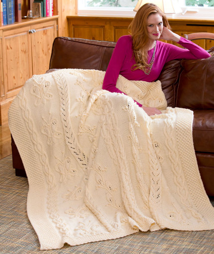 Butterfly Cabled Blanket Free Knitting Pattern