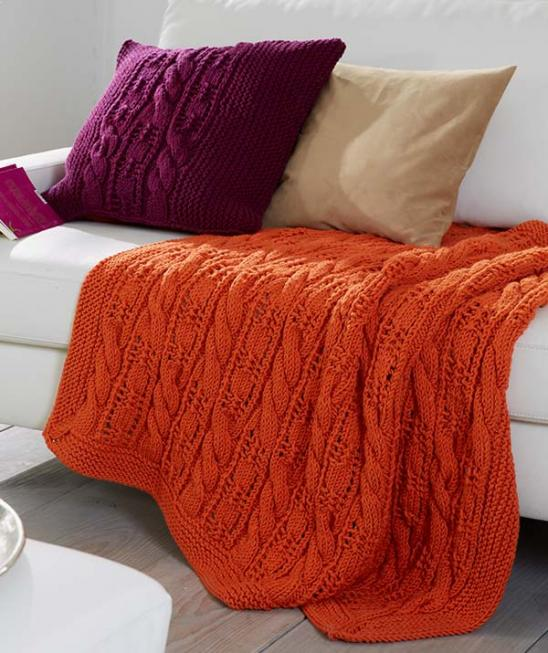 Cable and Lace Afghan and Pillow Cover