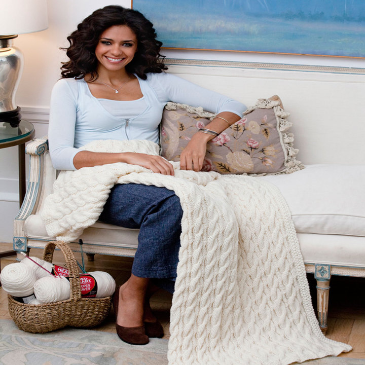 Cabled Classic Throw free knitting pattern blanket