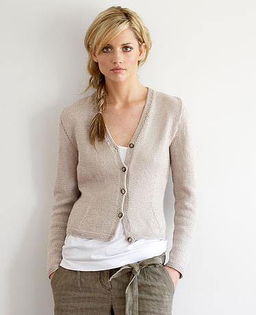 Fitted Vee Neck Cotton Cardigan Free Jo Sharp Knitting Pattern