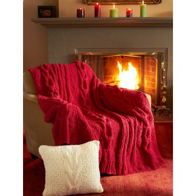 Horseshoe Cable Blanket and Pillow - free knitting pattern