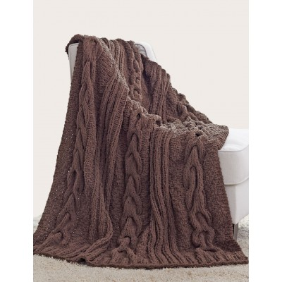 Horseshoe Cable Blanket free knitting pattern