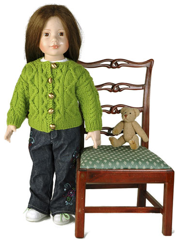 Knitted Doll Aran Cardigan - Free Pattern