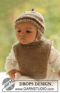 BabyDROPS 18-5 Free Knitting Pattern for Baby Hat and Bib