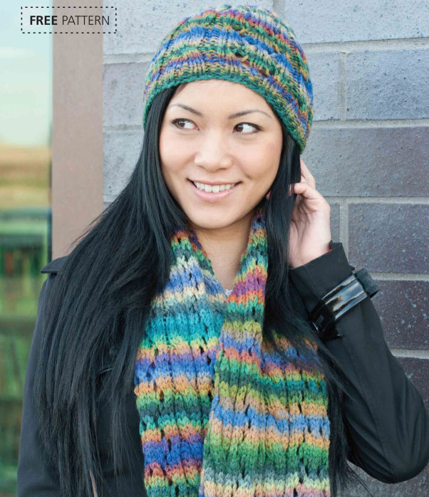 Lace-&-Cable-Hat-&-Scarf-Set-free-knitting-pattern
