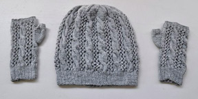 cable and lace hat knitting pattern mitts