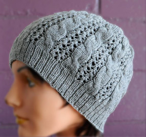 cable and lace hat knitting pattern