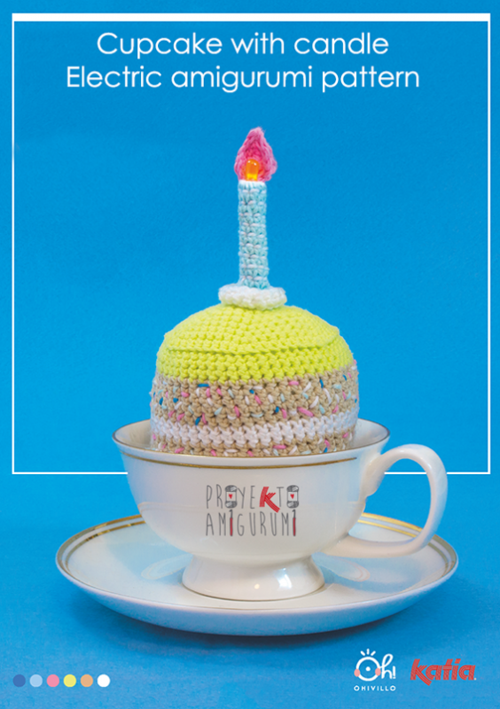 Cupcake with candle free crochet pattern
