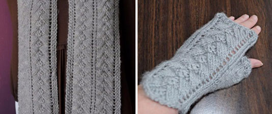 Pyramid Lace Scarf and Mitts