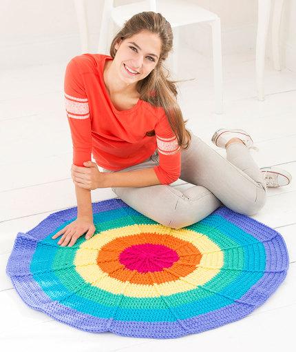 Circular Rainbow Rug Free Crochet