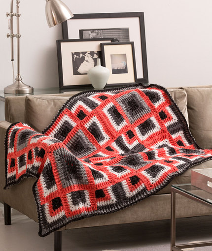Dynamic Squares Throw - Free Crochet Blanket Pattern