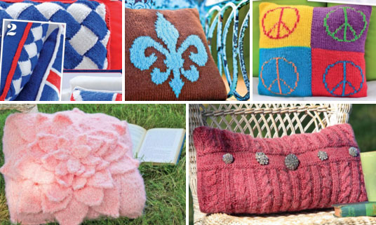 Five trendy pillows free knitting patterns