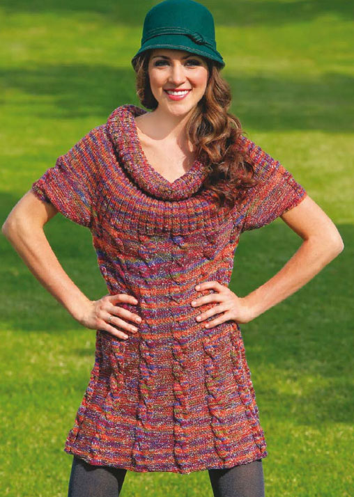 Free cabled tunic knitting pattern