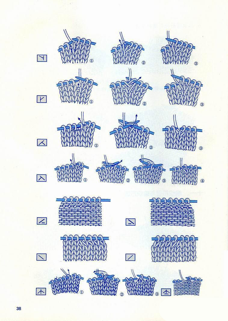 japanese knitting symbols illustrations