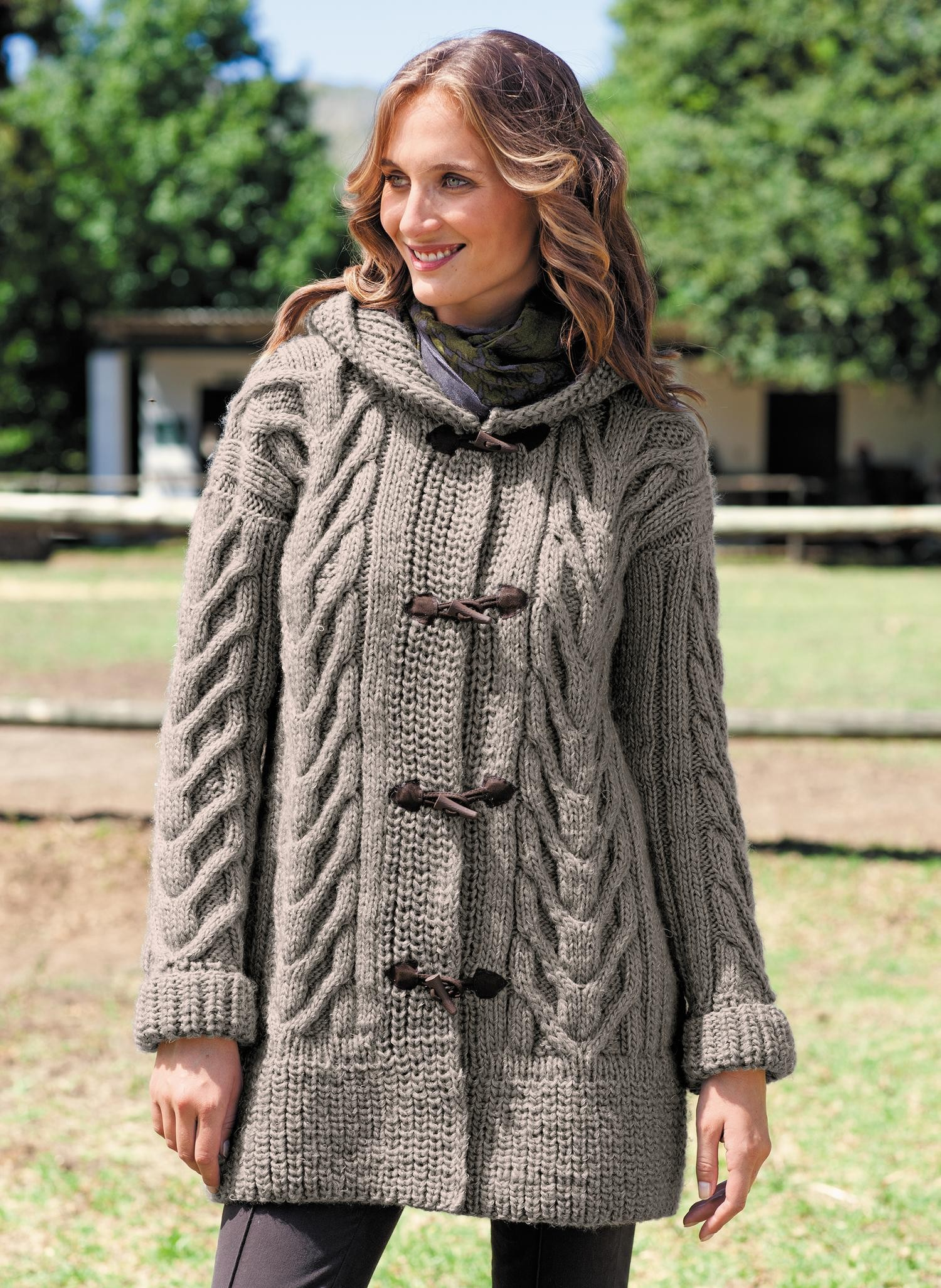 Cabled Hooded coat Free Knitting Pattern ⋆ Knitting Bee