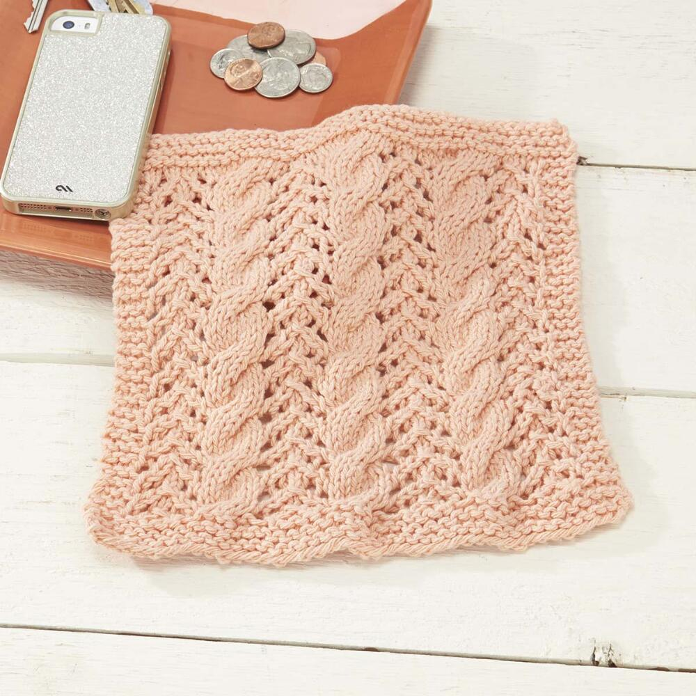 free free cable and lace dishcloth knitting pattern