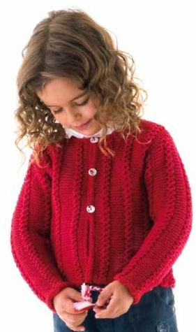 Cardigan with Mock Cable Patterning