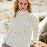 White Cable Knit Sweater Free Knitting Pattern