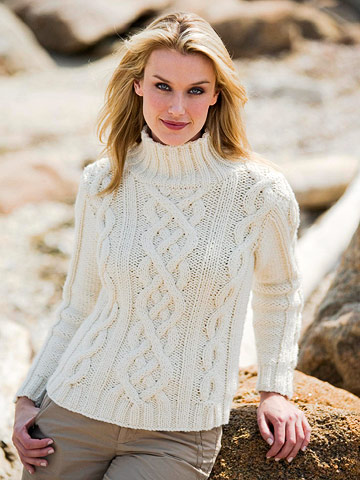 White Cable Knit Sweater Free Knitting Pattern Knitting Bee