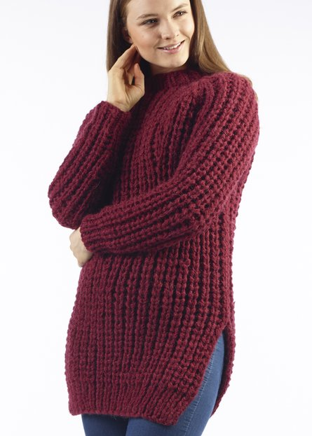 Yana Chunky Ribbed Jumper Free Knitting Pattern Knitting Bee