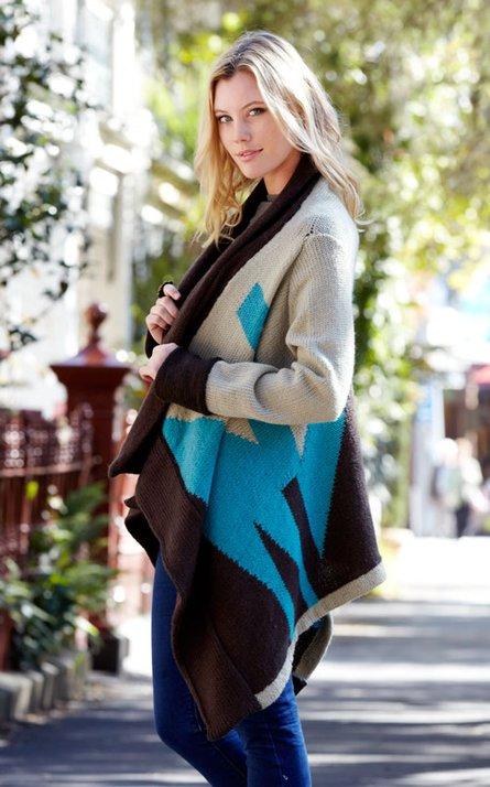Block Colour Cardi Free Knitting Pattern