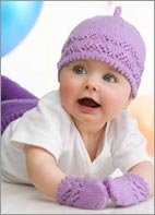 Hat & Mittens for Baby with lacy panel & picot edge
