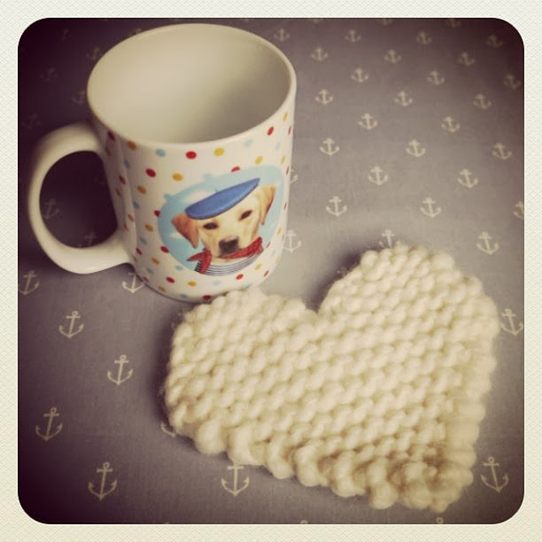Knit a Heart Coaster